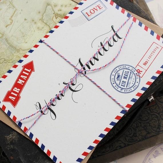 vintage travel postcard wedding invitation air mail