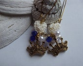 Royal Blue and Gold Crown Earrings to Benefit Heart Strings