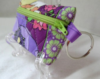 Floral Quilted Coin Purse - Floral Change Purse - Small Zippered Pouch - Purple Lime - Coin Purse Key Chain - Ear Bud Case