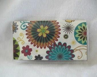 Checkbook Holder - Floral Checkbook Cover for Duplicate Checks - Vinyl Flower Cash Envelope