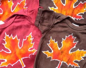 Batik Maple Leaf Onesie- Size 6mth or 12mth