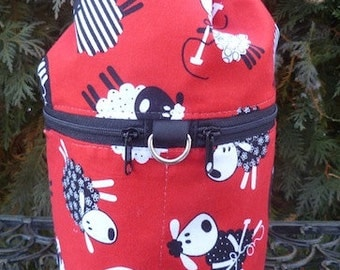 Sheep knitting project bag, drawstring bag, knitting in public bag, small project bag, knitting sheep on red, Kipster