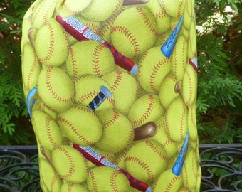 Softball drawstring bag, knitting project bag, WIP bag, crochet project bag , Suebee
