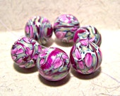 Set of 6 handmade pink and green polymer clay beads 16mm