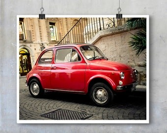 Red Fiat 500 Car - Italy Sicily Noto vintage automobile vehicle street cute old - 8x12 11x14 25x20  inch fine art photography wall art
