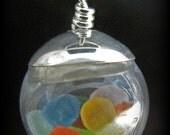 Sea Glass Jewelry - Genuine Beach Glass Necklace - Rare Colors Seaglass Globe Ball - Sterling Silver, Jewellery