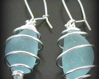 Sea Glass Jewelry, Aqua Blue Sea Glass Wire Wrapped Earrings - Sterling Silver, Jewellery