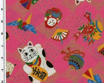 Japanese Maneki Neko (Good Luck Cat) Pink Fabric - REMNANT Size 25 Inches by 44 Inches