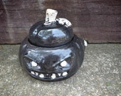 SALE--Evil Pumpkin Stoneware Sugar Bowl