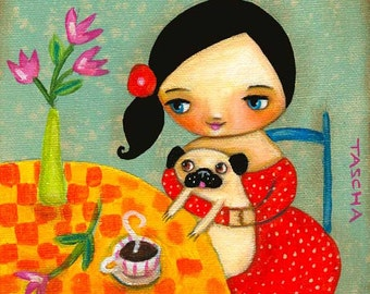 PUG Dog love coffee time cute puppy PRINT poster of a painting by TASCHA