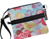 ON SALE Cell Phone Case iPhone Purse Cross Body Bag Small Shoulder Bag Small Sling Bag / Plus ZIPPER pocket - Long Zip Bag - Belal Blue Fabr