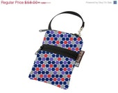 ON SALE Cell Phone Bag Small Crossbody Bag iPhone Shoulder Purse Cross Body Purse - Short Zip Cell Phone Bag - Fast Shipping - Dots Fabric