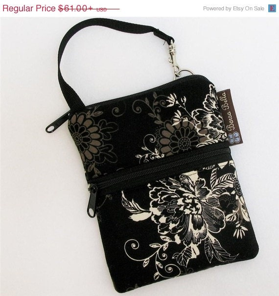 ON SALE Cell Phone Cross body Purse Samsung Galaxy Bag Large Cell Shoulder Bag - Fast Shipping - Short Zip Cell Phone BAG Black Beauty Fabri
