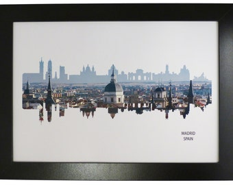 Madrid, Spain Skyline Print with aerial city photo