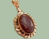 Sale: Maroon Agate and Copper Pendant