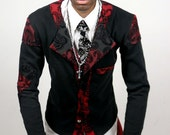 Red and black paisley checkered print cardigan