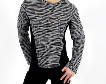Men's pullover top with side insets