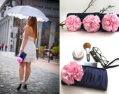 Set of 7 Ruche Bridesmaids Clutch With Detachable Flower Brooch/ Navy Blue Pink Black Silver Dark Purple Gray and More