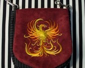 Pouch Spare Pocket Embroidery Phoenix