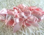 Pink Pearl Satin Wedding Garter-White Lace-Pearls-Pink Satin-Bride-Bridesmaid-
