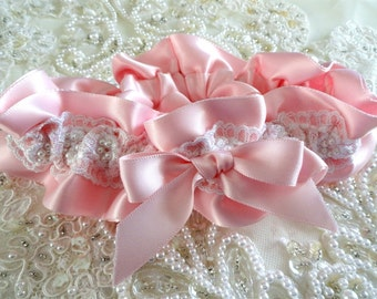 Pink Pearl Satin Wedding Garter-White Lace-Pearls-Pink Satin-Bride-Bridesmaid-1 Fits 14-21 inches
