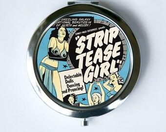 Burlesque Compact MIRROR Pocket Mirror pin up strip tease