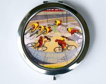 Compact MIRROR Pocket Mirror  bike riders Vintage Circus