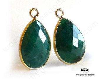 2 pcs Emerald (dyed) 15mm x 10mm Tear Drop Gold Bezel Charm Drop F492-