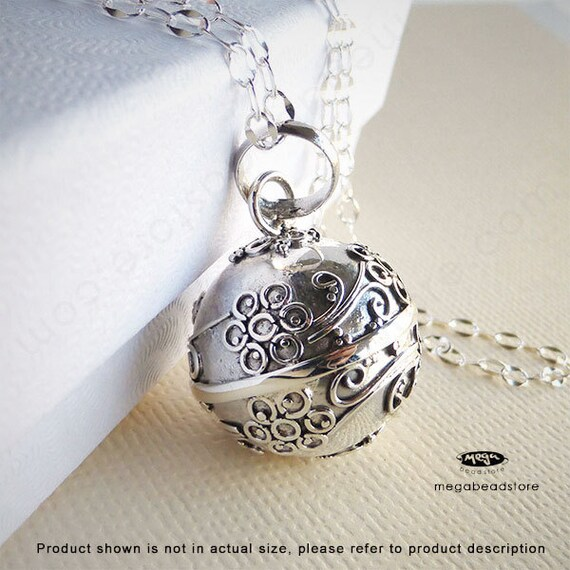 "Maternity Necklace Mexican Bola 16mm Flower Harmony Ball 36"" Chain 925 Sterling Silver P55CH67"