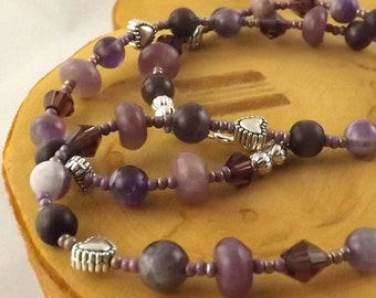 Purple Passion gemstone choker necklace 18 inches