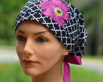 Scrub Hats // Scrub Caps // Scrub Hats for Women // The Hat Cottage // Small // Ribbon Ties // Lattice