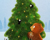 "Bear Christmas, Christmas Tree, Holiday card, Greeting card - ""Beginning to Look"""