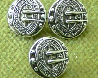 Ornate Small Puffed Antique Silver and Black Buckle Emblem Button 6317  B30