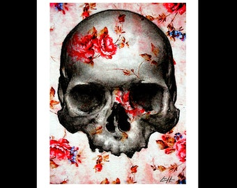 "Print 8x10"" - Skull and Roses - Skeleton Flowers Dark Art Lowbrow Art Surreal Fantasy Skulls Taxidermy Anatomy Macabre Day of the Dead Red"