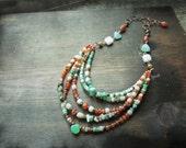 Tiered necklace, Orange Green Semiprecious gemstones Carnelian Chrysoprase Copper metalwork - Grove