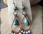 Chandelier earrings, Ruby in fuschite Indonesian glass Handmade lampwork glass Raw copper Artisan metalwork - Raindrop