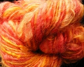 Handspun Wool Yarn SUNSET ROSE English Leicester Longwool Fleecespun 74yds 3.25oz 8wpi