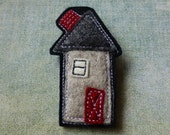 Felt Brooch House Series no.15, Wool Felt, machine sewn, wool applique, red, brown, grey, black, Home,  FB0018