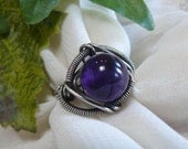 Deep Purple Amethyst and Sterling Silver Bead Ring - Size 7