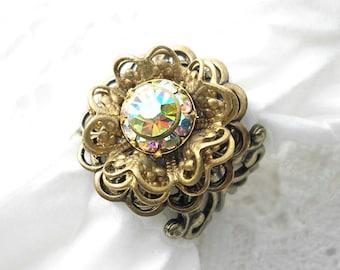Tiny Raindrops - Crystal Aurora Borealis Adjustable Antiqued Brass Ring