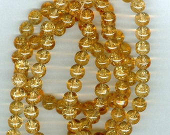 8mm Golden Yellow Crackle Round Glass Spacer Beads 32 Inch Bead Spacers
