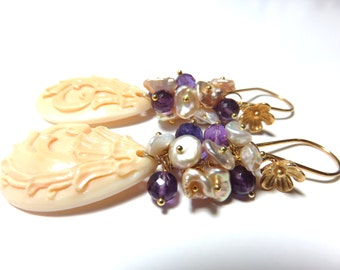 Hand-carved Apricot Shell Focal Bead, Freshwater Pearl, Amethyst and Gold Earrings