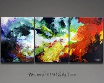 Canvas Giclee Prints, Triptych, Fluid Painting, from my Original Abstract Painting Windswept, Extra Large Wall Art