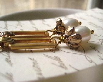 Golden Pearl Earrings, White Pearls, Vintage Links, Artisan Beadcaps, Bronze flower, peony beadcaps, Bridal Jewelry, June Birthday