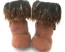 Toddler Boots Baby Boots Trim Fur Baby Boots Baby Shoes Toddler Shoes Baby Ugg Mukluk Booty Shoe Brown Fleece Baby Boots Booty Infant Shoe