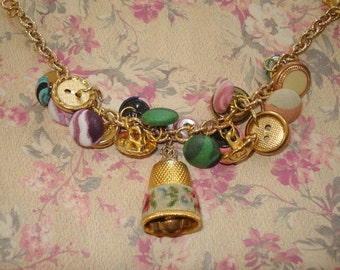 Vintage Thimble and Button Bracelet,Gold tone Metal and Fabric Buttons