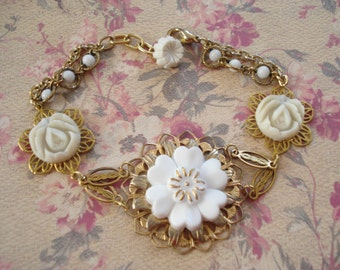 White Flower Vintage Resin Brooch with Buttons on Filigree and Glass Bead Chain,Bracelet