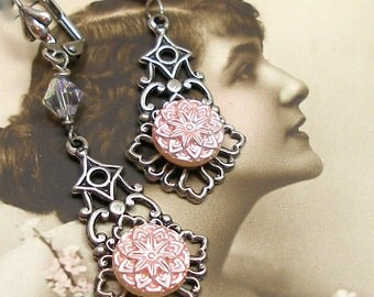 Antique BUTTON earrings, 1940s pink stars on silver. Antique button jewelry, jewellery.