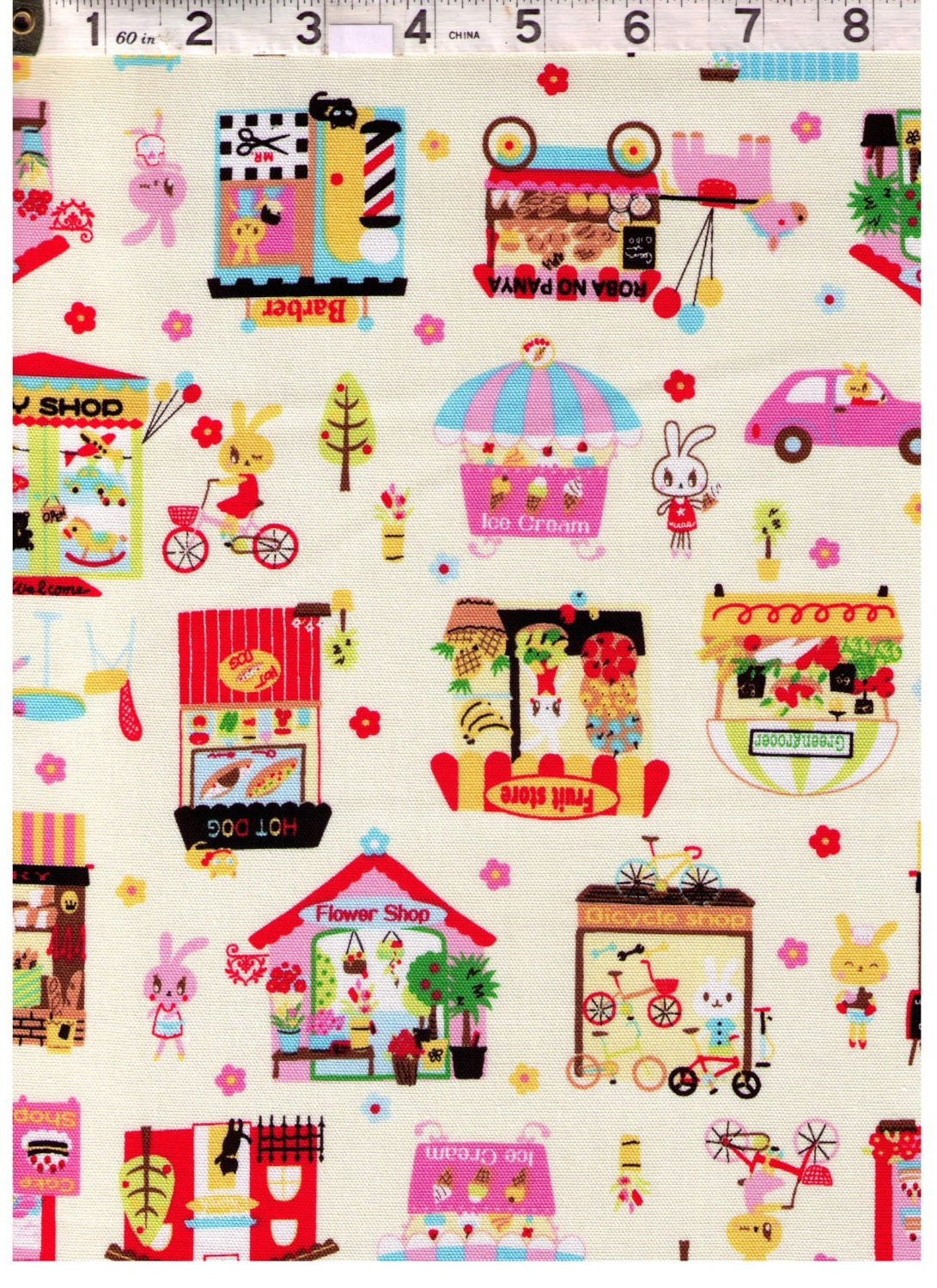 Half yard bunny city on pink nico nico land nyan cat for Nyan koi pool