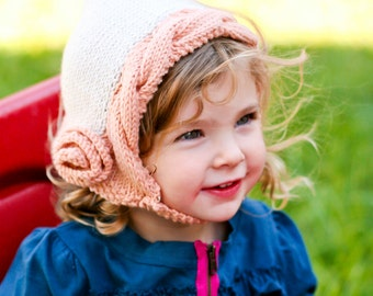 Flower Cabled Pixie Bonnet - Knitting PATTERN - pdf format for newborn, infant, toddler, child, teen and adult